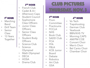 Club Photo Day Schedule 2016